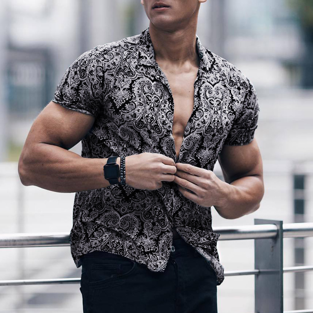 Feitong Men Shirt Short-Sleeve Chest-Pocket Lump Multi-Color Round Hem Masculina Black