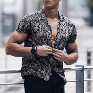 Feitong Men Shirt Multi Color Lump Chest Pocket Short Sleeve Round Hem Loose Shirts Camisas masculina Black shirt(China)
