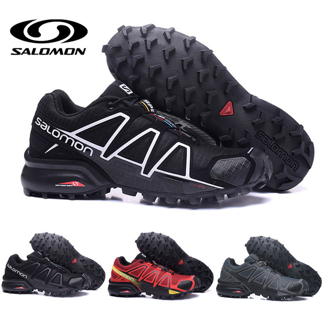 chaussures de séparation e9f64 fbfcd US $24.69 5% OFF|Salomon Speed Cross 4 CS Shoes Men Cross country Black  White Red Running Shoes Female Sneakers Men Athletic Sport shoes-in Running  ...