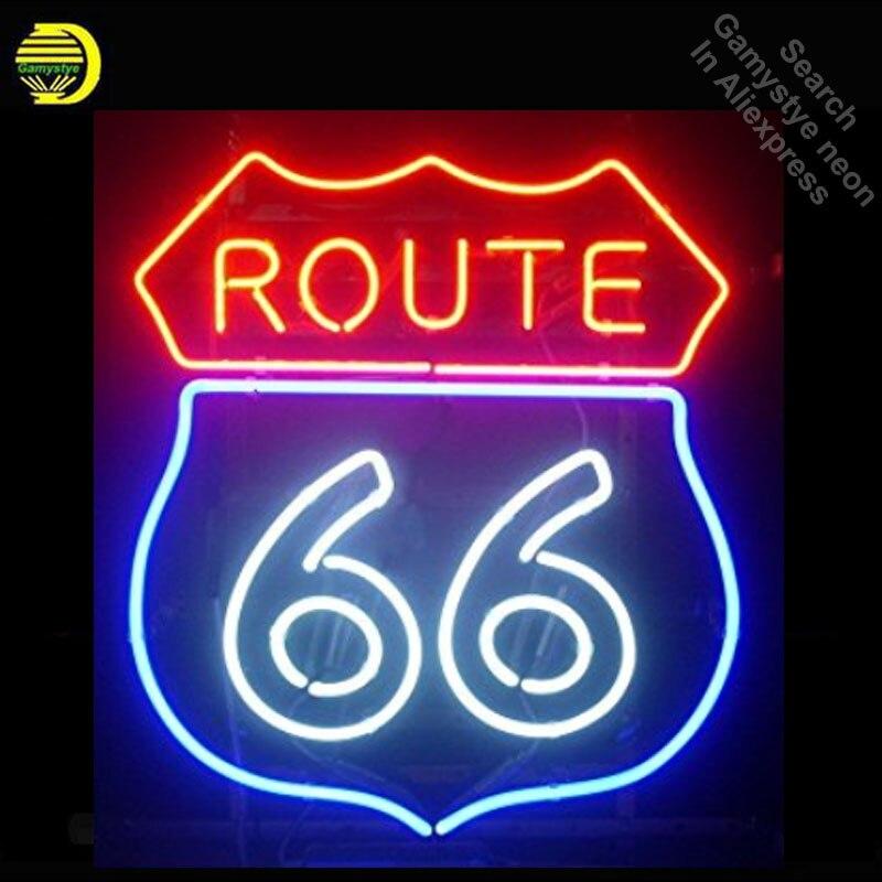 Enseigne au néon Route 66 néon véritable Tube de verre néons récréation Sport fenêtres Professiona signe emblématique annonce enseigne Motel
