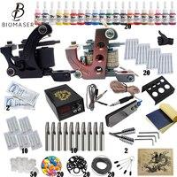 Beginner Tattoo Starter Kits 2 Tattoo Machines Guns 20 Ink Sets Power Supply Needles Top Tattoo