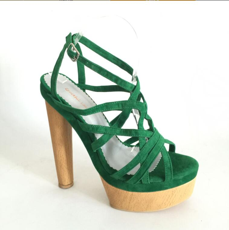 Green Platform Women Sandal Square High Heel Shoes Women Open Heel 2017 Sandal High Heel Open Toe Made-to-order цена