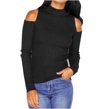 Autumn Winter Fashion Women Turtleneck Off Shoulder Sweater Lady Long Sleeve Knitwear Pullover Slim Fit Blouse Tops Pull Dec6