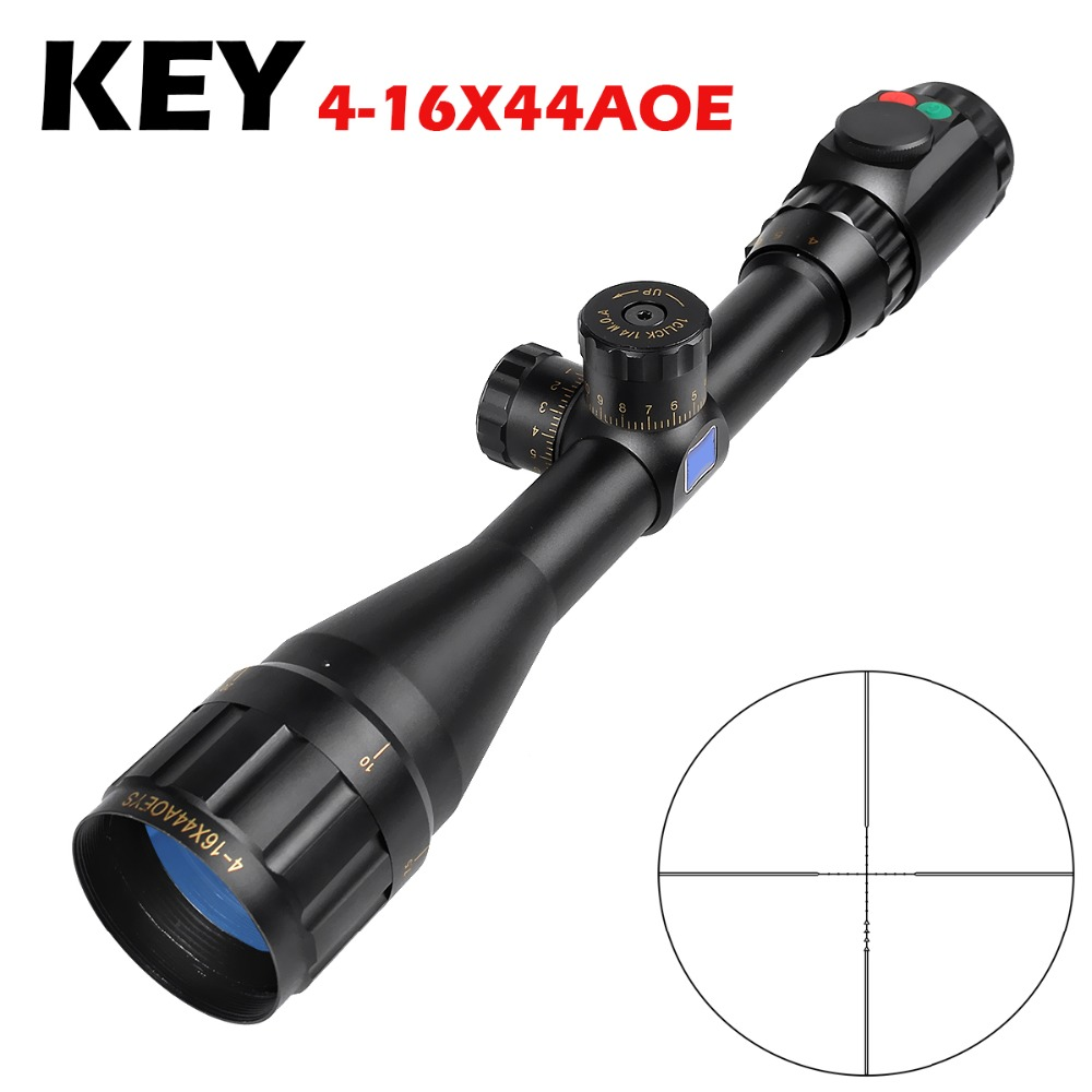 Hot New Key 4-16x44AOE Tactical RiflesScope For AirRifle Sniper Hunting Optics Sight  Riflescope For Shooting Outdoors Telescope