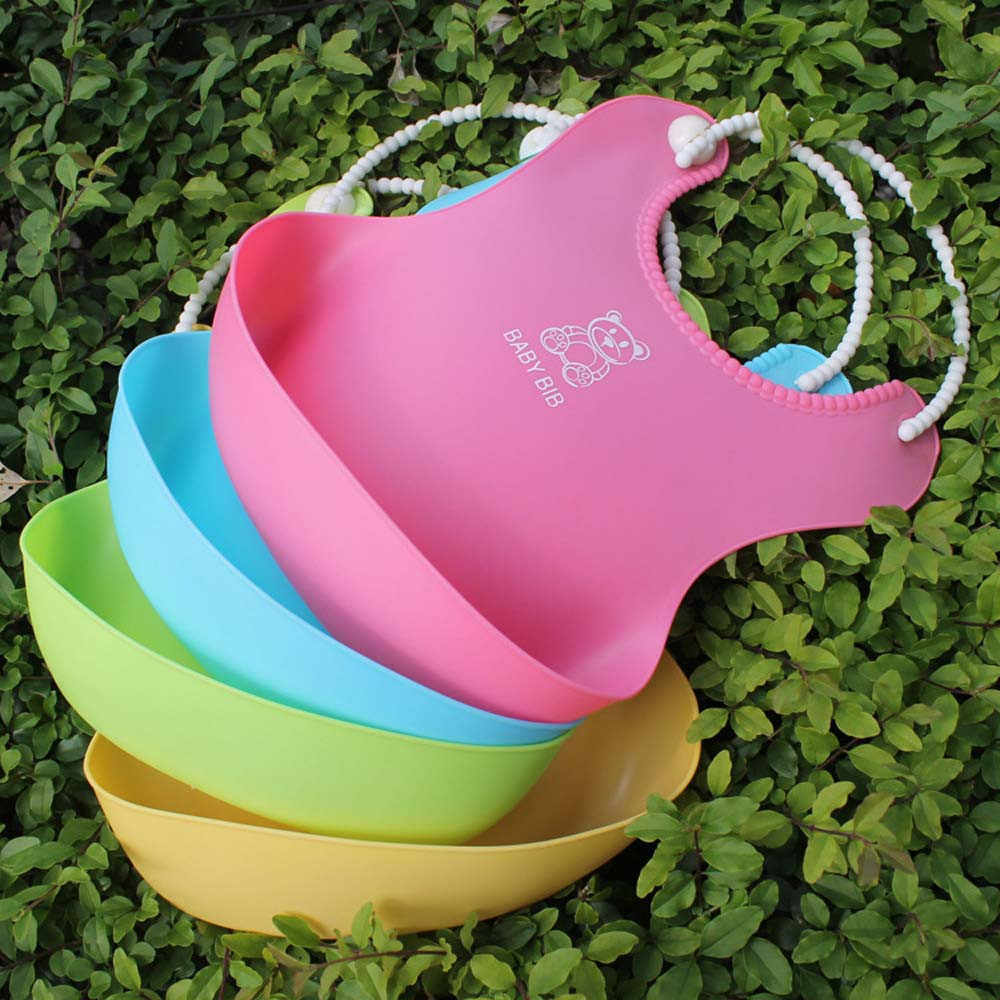 Baberos de bebé desmontables niños niñas sólido impermeable alimentación delantal Saliva toalla babero plastico accesorios C @ 40