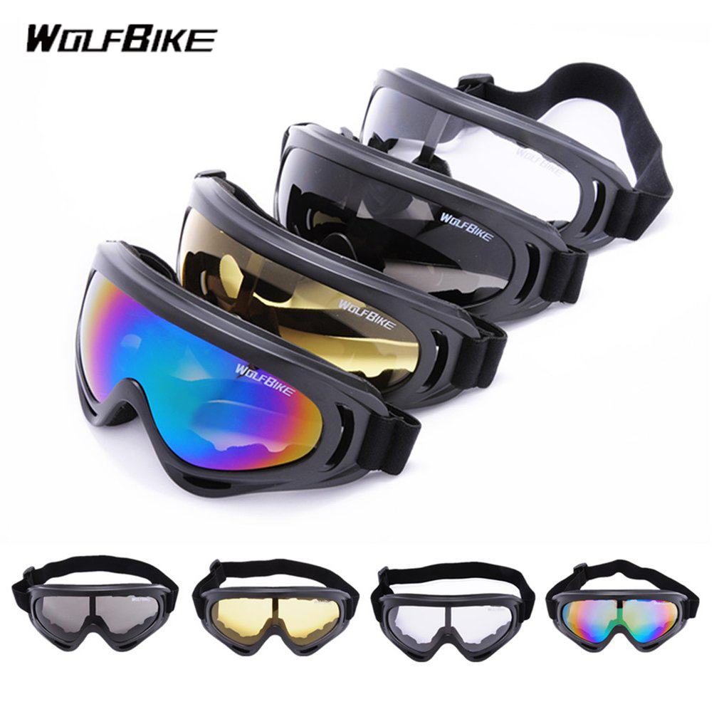 WOLFBIKE Windproof Cycling Glasses Outdoor Safety Goggles Motorcycle Skiing Goggles Anti-scratch Adjustable Eyes Protector