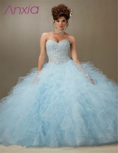 Shining Light Sky Blue Tulle Ruffled for 15 Years Cheap Masquerade Dress Vestido Debutante with AB Stones Quinceanera Dress 2016