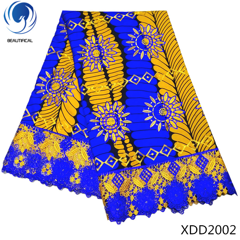 BEAUTIFICAL African wax mix lace 2018 high quality latest guipure lace fabrics Nigerian Laces Fabrics for