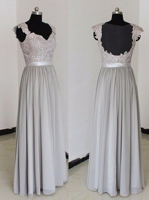 2019 robe demoiselle d'honneur Scoop Lace Chiffon Long Bridesmaid Dresses Sexy Gray Champagne Maid of Honor Prom Dress Gowns