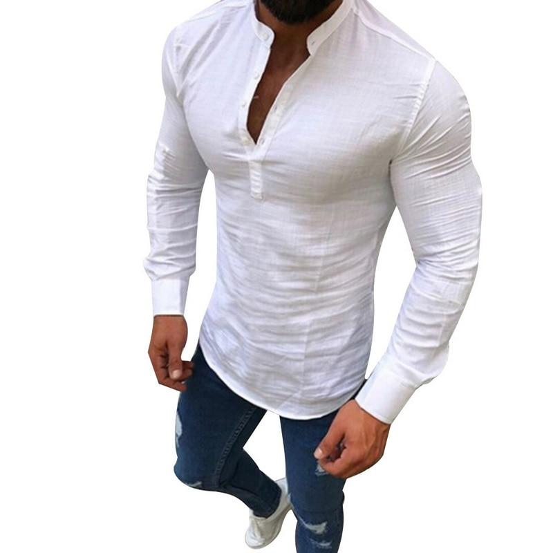 2018 Autumn New Men Casual Button Linen Shirt Pure Color Half Open Shirt Fashion  Long Sleeve V Neck Slim Fit Shirt Plus Size