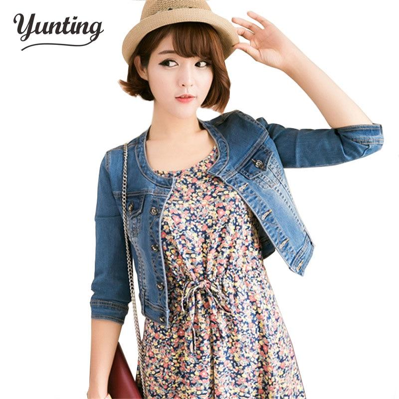 Nový přírůstek jaro / Antumn krátké džínové bundy vintage ležérní kabát dámské džínové bundy pro svrchní oblečení džíny Female Plus velikost 2XL