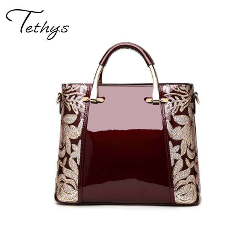 New 2017 fashion women bags sequin embroidery Luxury patent leather famous brands design handbag ladies messenger bag female sac 2017 new fashion female handbags famous brands sac women messenger bags women s pouch bolsas purse bag ladies leather portfolio