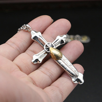 18.2 g Solid Silver 925 Handmade Large Cross Pendant For Necklace Men Women Gothic Indian Thai Silver Jewelry Top Quality Gifts