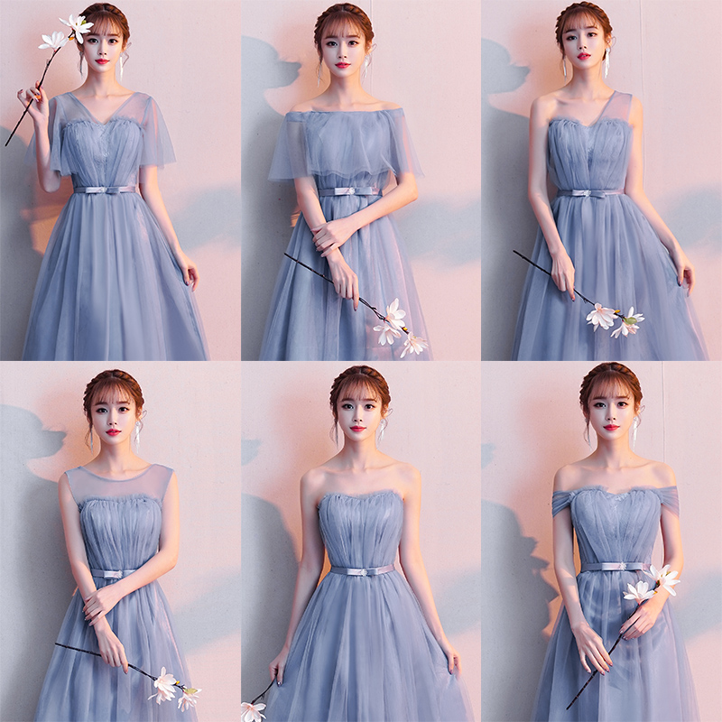 Bridesmaid Dresses Wedding Guest For Woman Junior A-Line Elegant Long Sister Party Tea-Length Tulle Sexy Princess Prom Vestido