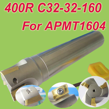 Free Shipping  400R SHK 32MM,Cutting Dia:32mm L:160mm 90 deg Square Insertable Face Shoulder Endmill Cutting Tools for APMT1604