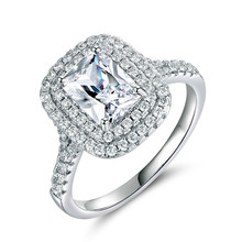 Classic 925 Sterling Silver Engagement Rings for Women Zircon Wedding Set Marriage