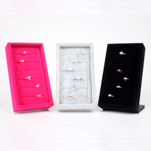 Wholesale 2 High Quality Pink/Gray/Black Velvet Ring Earring Jewelry Display Stand Holder For 6 Rows