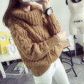 Crochet invierno Mujeres Tirón Suéter Jumper Pullover de Cuello Alto de Manga Larga de Corea de Gran Tamaño Floja Señoras Prendas de punto Casual Tops MF859