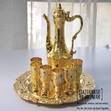 8 Unids/set antiguo antiguo de aleación de zinc de metal set de vino 1 vino frasco taza bandeja vasos vajilla en relieve tallado oro plata