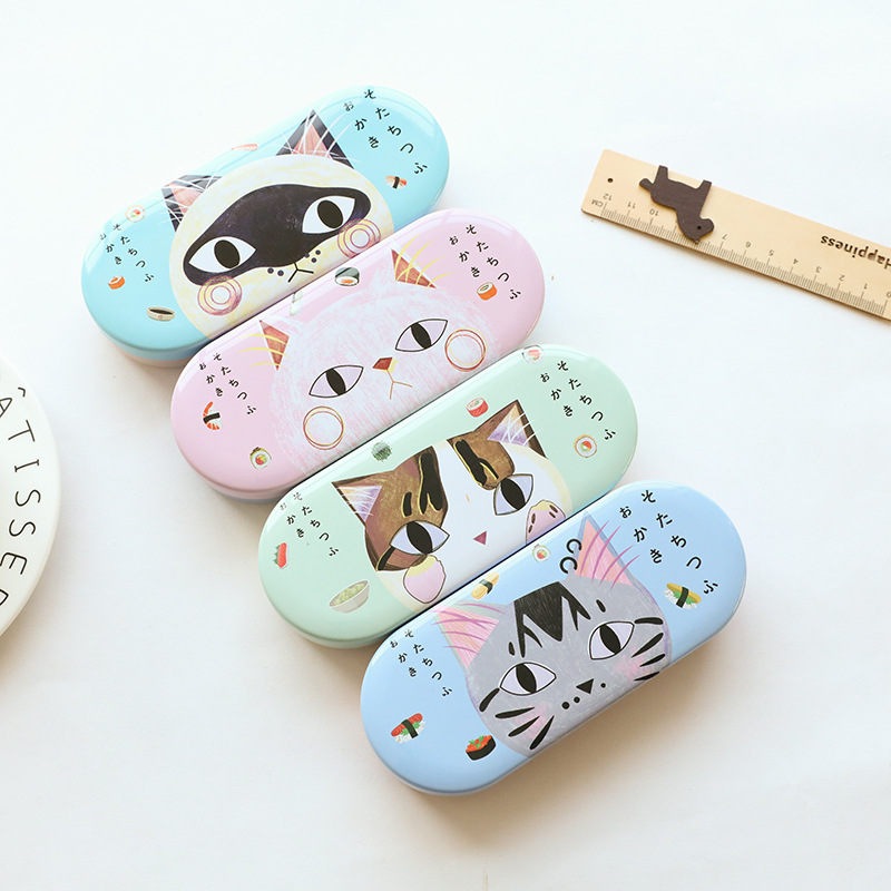 053c11fc07 Creative Candy Color Lovely Cute Cartoon Little Cat Iron Tin Metal Glasses  Box Spectacle Case Students