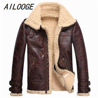 AILOOGE 2018 Free Shipping Mens Leather Lambs Fur Fleece Bomber Flight Winter Coats Buckle Jacket