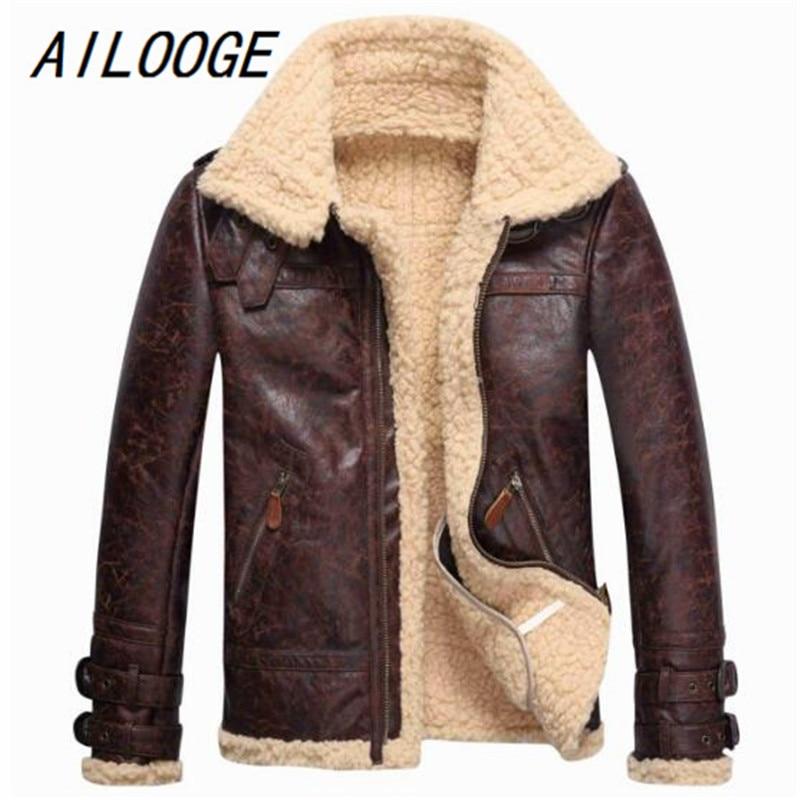 AILOOGE 2018 Бесплатная доставка Мужская кожаная куртка из овечьей шерсти флисовая куртка бомбер летная зимняя куртка с пряжкой