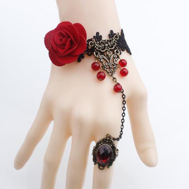 Charm Bracelets For Women Gothic font b Jewelry b font Vintage Royal Rose Lace Bracelet Bangles