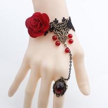 Charm Bracelets For Women Gothic Jewelry Vintage Royal Rose Lace Bracelet & Bangles Handmade Women Accessories
