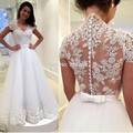 Vestido де noiva видеть сквозь кружево назад платье-линии свадебные платья атласная халат мантия-де-mariage 2015 Vestido де casamento