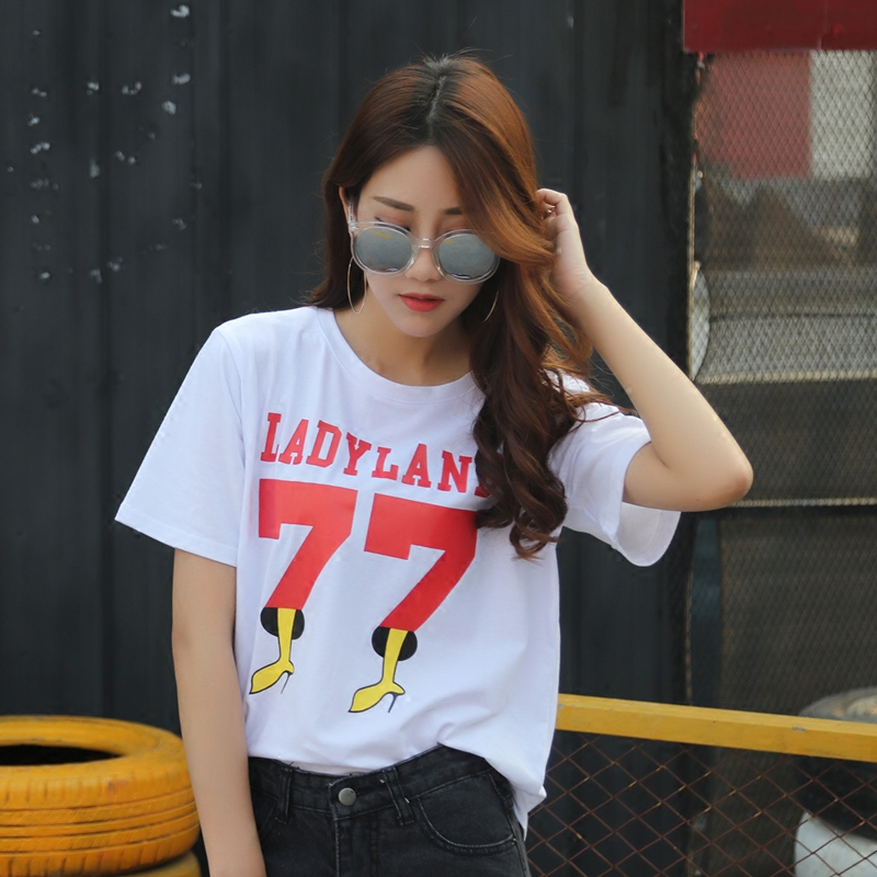 Cotton Female Short Sleeved Loose T-shirt Big Letters T Shirt Printing All-match