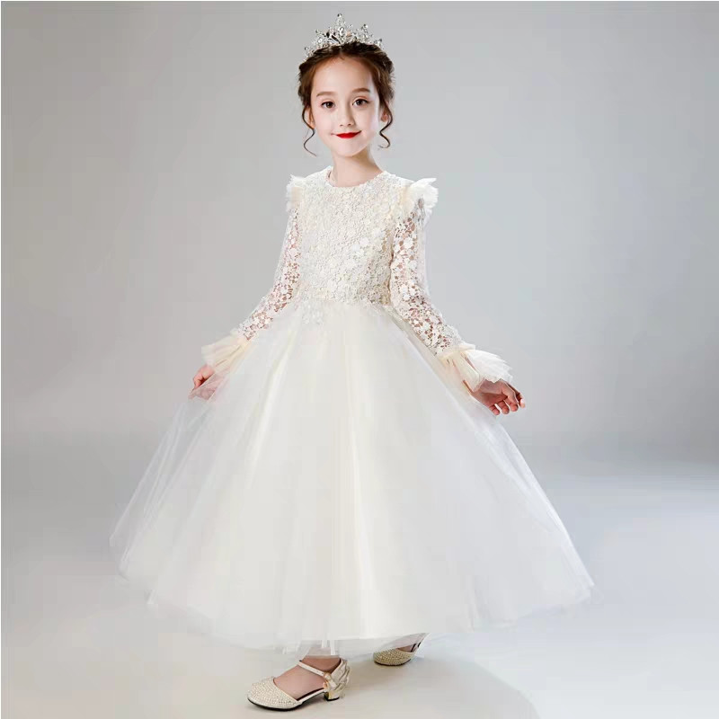 Children Girls Noble Elegant Birthday Wedding Party Long-Sleeves Princess Lace Dress Kids Teens Piano Host Pageant Puffy Dress Children Girls Noble Elegant Birthday Wedding Party Long-Sleeves Princess Lace Dress Kids Teens Piano Host Pageant Puffy Dress
