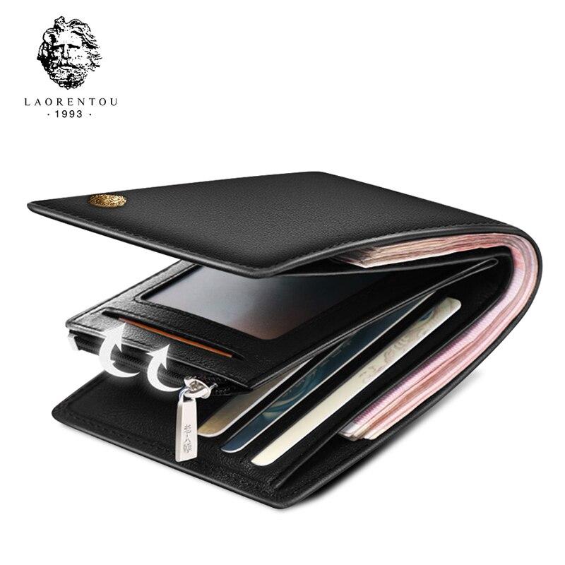 LAORENTOU Cow Leather Men Short Wallet Casual Genuine Leather Male Wallet Purse Standard Card Holders Wallets For Men
