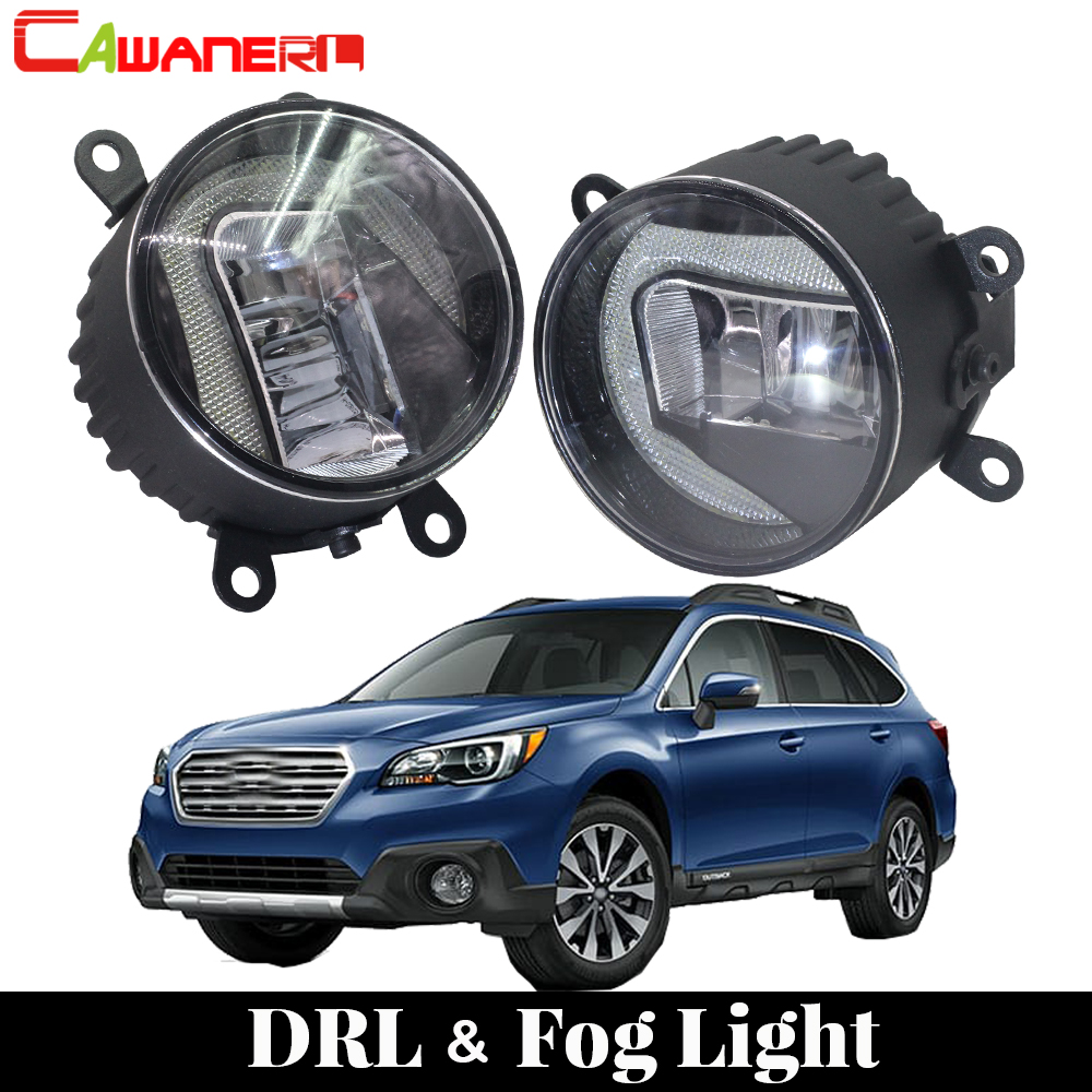 Cawanerl 2 Pieces Car Styling LED Light Fog Light Daytime Running Lamp DRL White 12V For Subaru Outback 2010 2011 2012 cawanerl for toyota highlander 2008 2012 car styling left right fog light led drl daytime running lamp white 12v 2 pieces