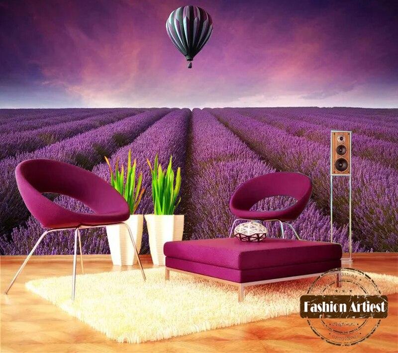 Custom 3d floral wallpaper mural romantic Provence lavender fields ...