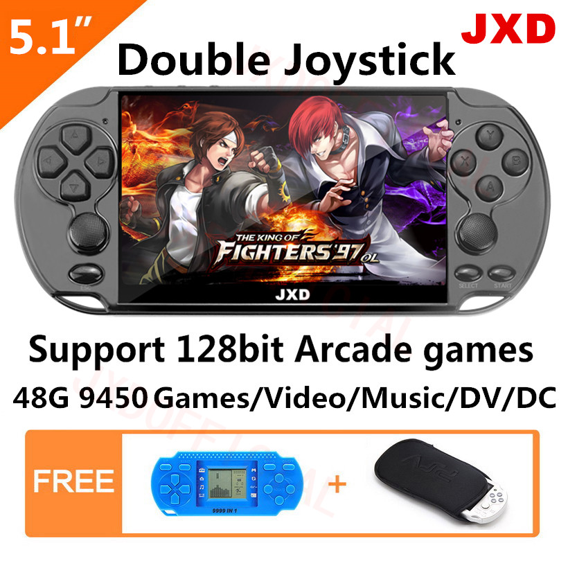 JXD 48GB 5.1 inch double joystick video game console build in 9450 game for arcade neogeo/cps/gba/gbc/gb/sens/nes/smd mp5 DV/DCJXD 48GB 5.1 inch double joystick video game console build in 9450 game for arcade neogeo/cps/gba/gbc/gb/sens/nes/smd mp5 DV/DC