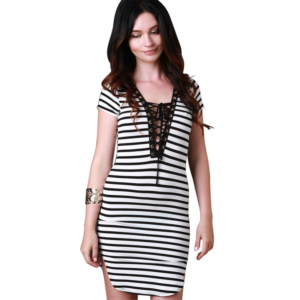 Deep V Collar Cotton Striped Short Sleeve Casual Classic Dress Female One Piece Dress Casual Cotton For Women