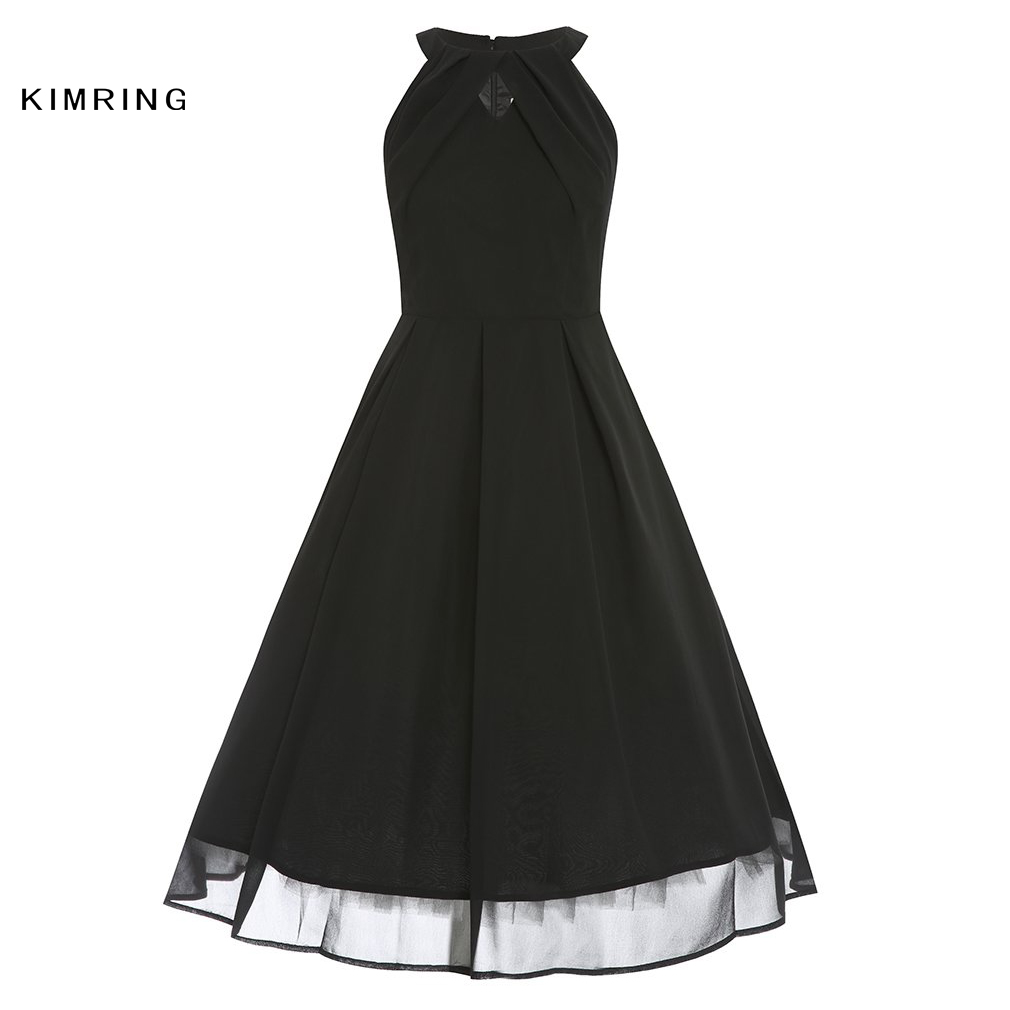 420ef23cc33 Kimring Summer Plus Size Dress Hepburn Style 50s 60s Sexy Unique Cutout  Cocktails Elegant Robe Retro Swing Dress for Women-in Dresses from Women s  Clothing ...