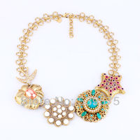 Shijie New Hot Sale Guardian Angel New Design European Shiny Gold Flower Chunky Necklace