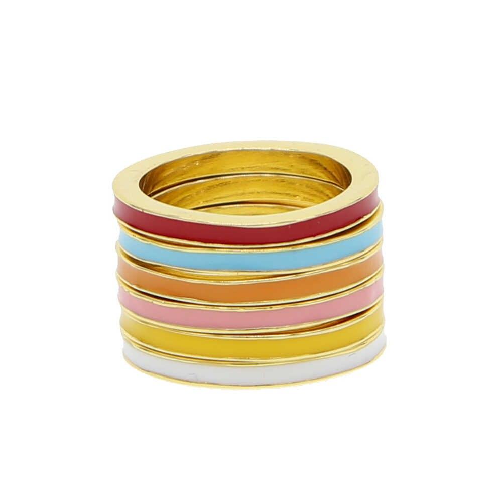 Us ขนาด 5 6 7 8 คลาสสิก 2 มม. แหวนหมั้นแหวนเคลือบสีสัน stack ซ้อนแฟชั่นแหวน