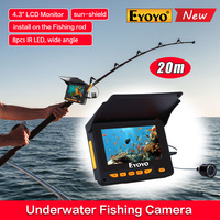Free Shipping 1000TVL 20M 4 3 LCD 10pcs IR LED 150 Degrees Angle Underwater Monitor Camera