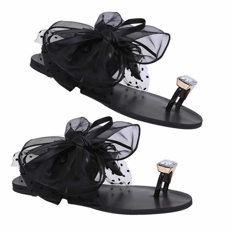 LIN KING/модные женские ботинки с бантиком-бабочкой, кружевное платье с цветочным рисунком женские тапочки модное с кристаллами, стразами; шлепанцы без задника с открытыми пальцами обувь для пляжного отдыха; Большой размер 42