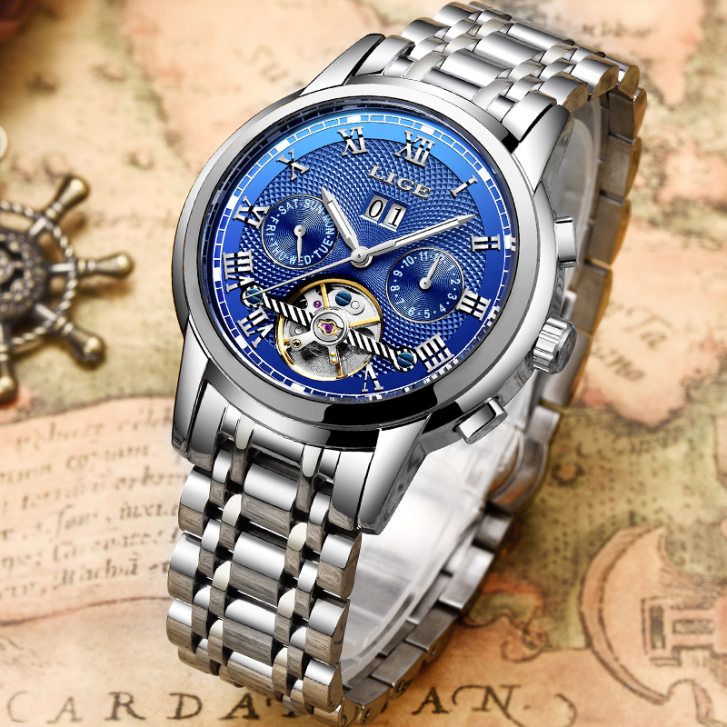 Relogio Masculino LIGE Mens Watches Top Brand Business Automatic Mechanical Watches Mens Stainless Steel Waterproof Sport WatchRelogio Masculino LIGE Mens Watches Top Brand Business Automatic Mechanical Watches Mens Stainless Steel Waterproof Sport Watch