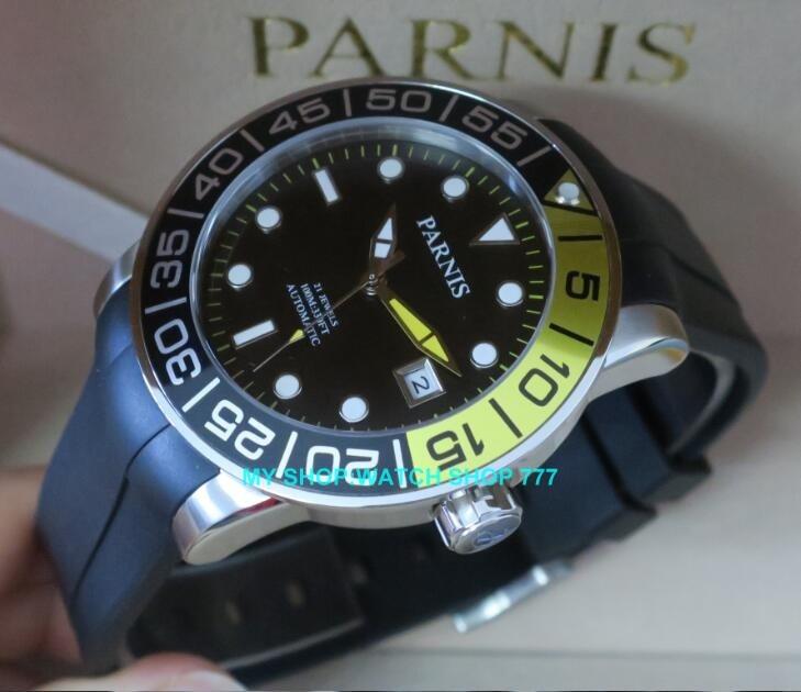 42mm Parnis Sapphire Crystal Japanese 21jewelry Automatic Self-Wind Movement luminous Mechanical watches Men's watch цена и фото