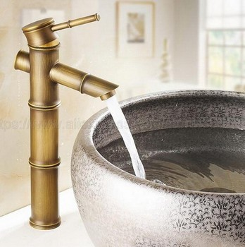 Antique Brass Bamboo Style Single Hole Basin Faucet Deck Mounted Single Handle Hot And Cold Water Tap znf010