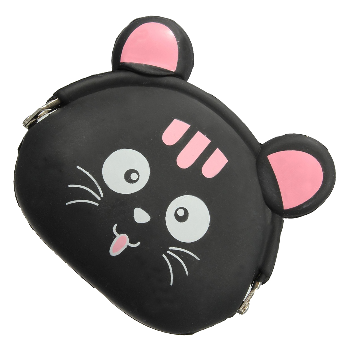 Top Sale BISM-Women Girls Wallet Kawaii Cute Cartoon Animal Silicone Jelly Coin Bag Purse Kids Gift Black cat
