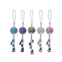 Car Rear View Pendant Lotus Crystal Men And Women Cute Auto Interior Ornaments Snowflake Car Pendant Jewelry Hanging Accessories