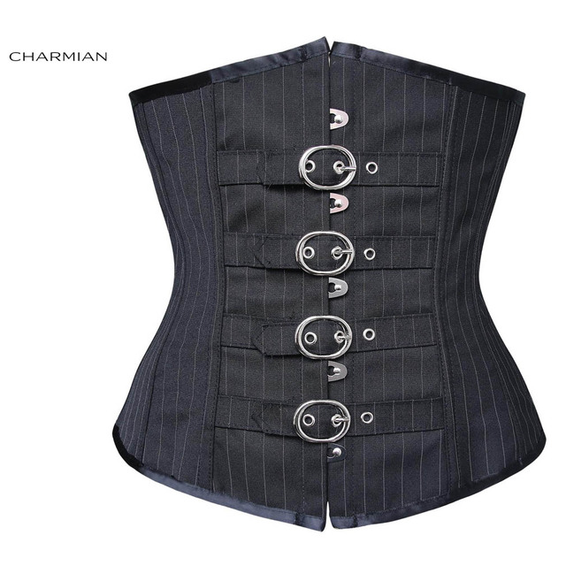 Charmian Women's Sexy Gothic Steampunk Corset Black Stripe Underbust Corsets and Bustiers Waist Trainer Cincher Shapewear