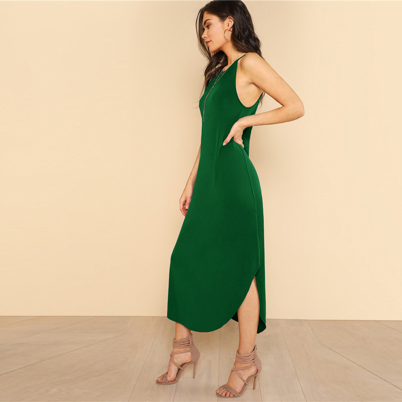 COLROVIE Keyhole Back Halter Curved Hem Party Dress 2018 New Green Loose Sleeveless Summer Dress Halter Shift Long Women Dress 6