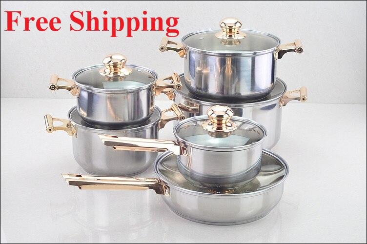 12PC en acier inoxydable ustensiles de cuisine casserole pan pot casserole poêle couvercle en verre set