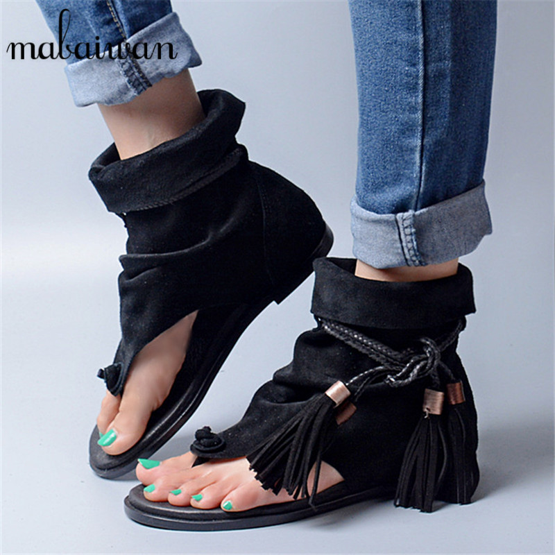 Summer Fashion Tassels Women Gladiator Sandals Flip Flops Rope Fringed Lace Up Flat Shoes Woman Casual Beach Shoes Woman Flats